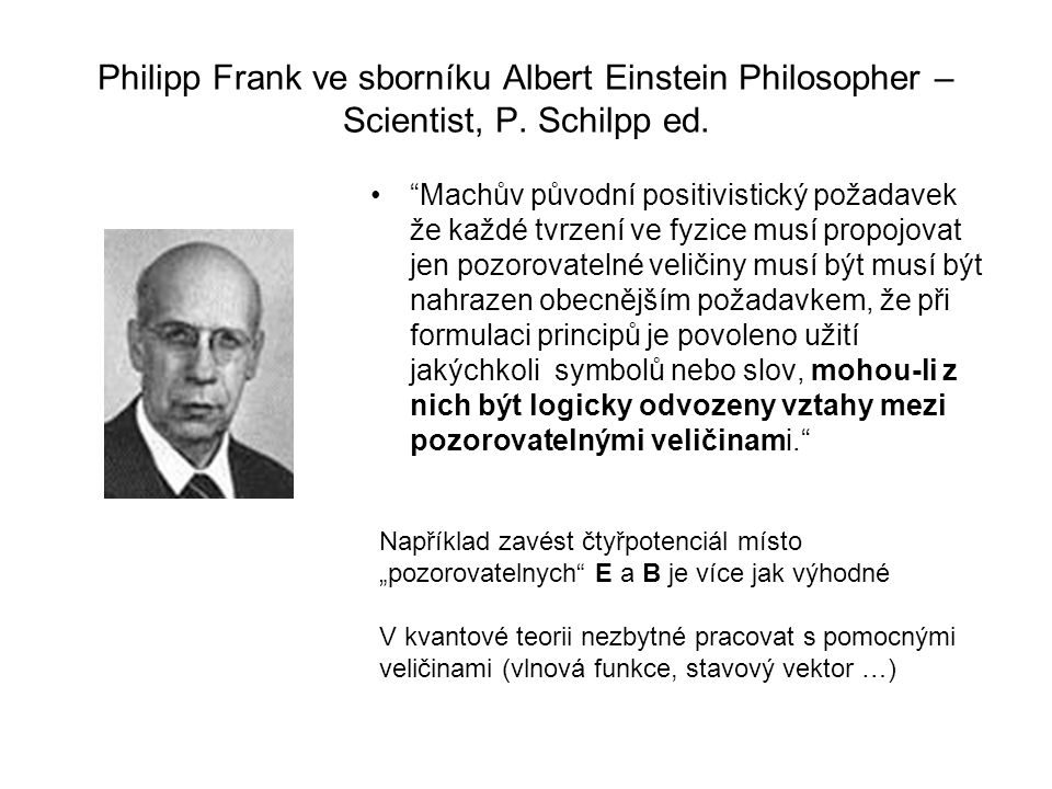 Philipp Frank ve sborníku Albert Einstein Philosopher – Scientist, P.