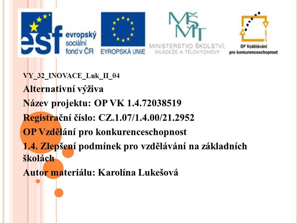 VY_32_INOVACE_Luk_II_04 Alternativní výživa Název projektu: OP VK 1.4.72038519 Registrační číslo: CZ.1.07/1.4.00/21.2952 OP Vzdělání pro konkurenceschopnost 1.4.