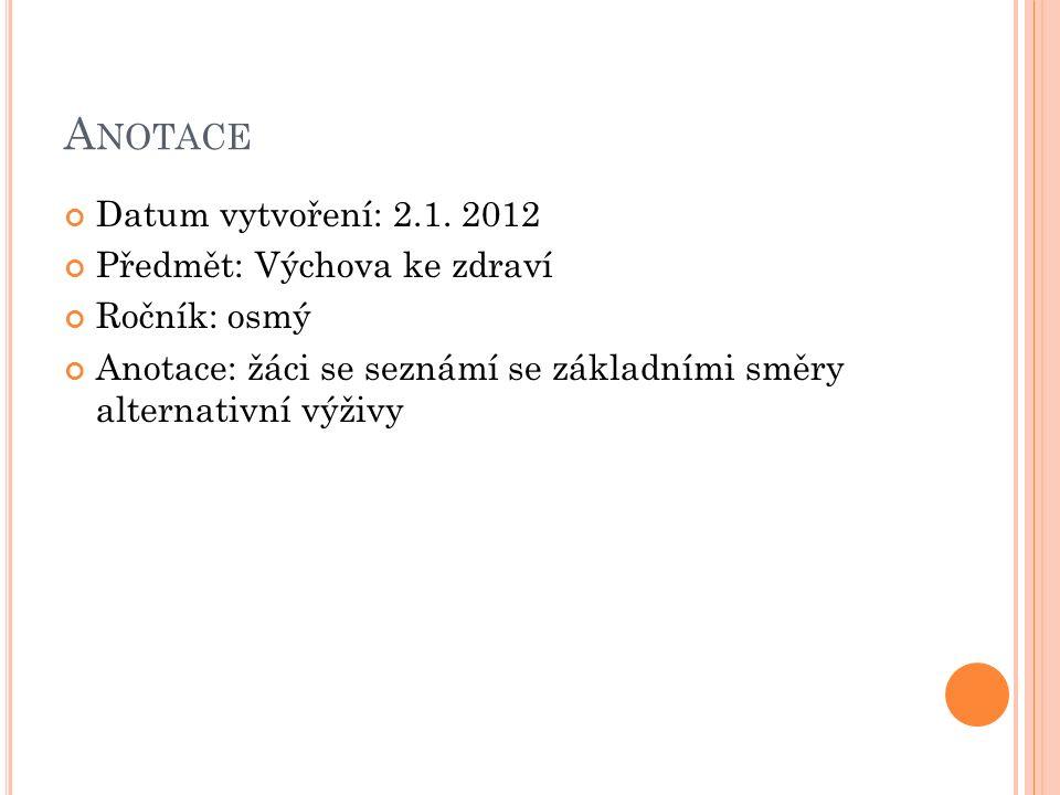A NOTACE Datum vytvoření: 2.1.
