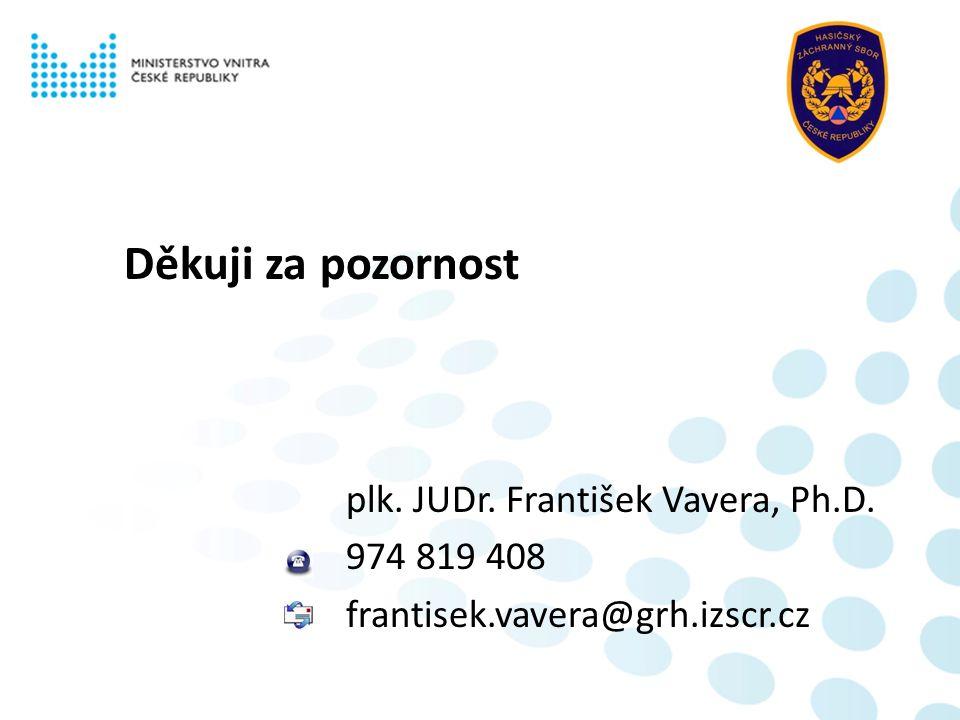 Děkuji za pozornost plk. JUDr. František Vavera, Ph.D. 974 819 408 frantisek.vavera@grh.izscr.cz