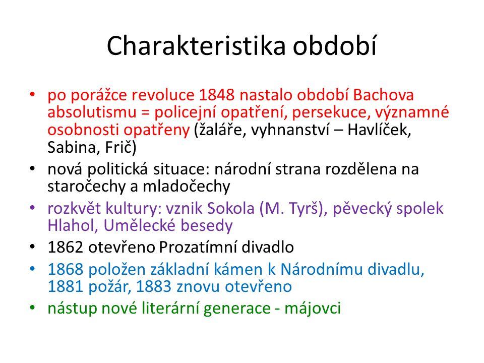 Charakteristika období po porážce revoluce 1848 nastalo období Bachova absolutismu = policejní opatření, persekuce, významné osobnosti opatřeny (žalář