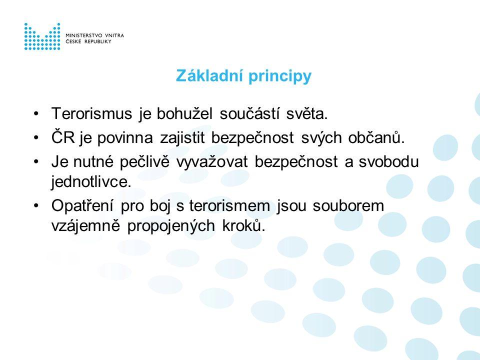 Základní principy Terorismus je bohužel součástí světa. ČR je povinna zajistit bezpečnost svých občanů. Je nutné pečlivě vyvažovat bezpečnost a svobod