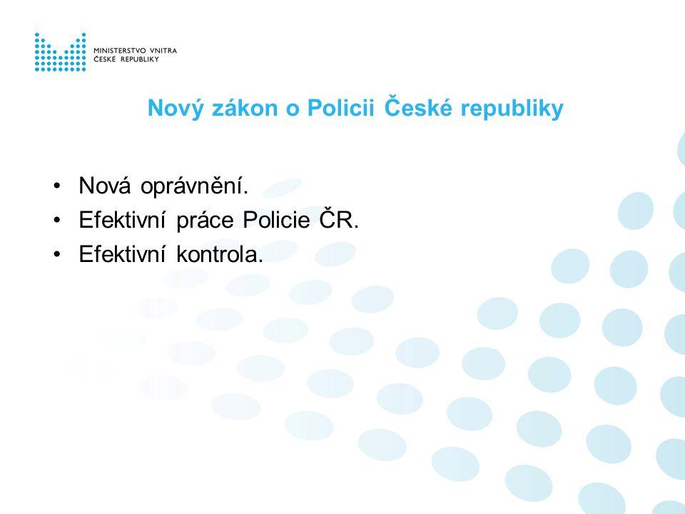 Nový zákon o Policii České republiky Nová oprávnění. Efektivní práce Policie ČR. Efektivní kontrola.