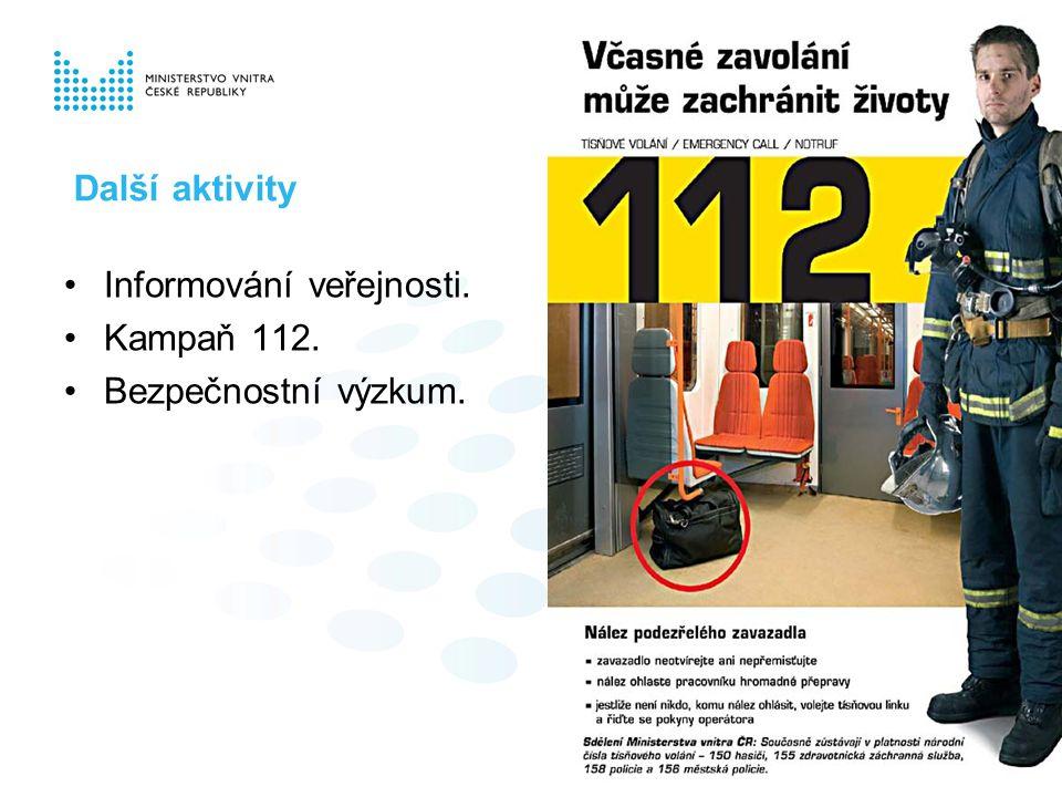Informování veřejnosti. Kampaň 112. Bezpečnostní výzkum. Další aktivity