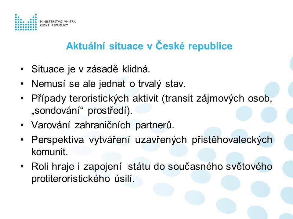 Aktuální situace v České republice Situace je v zásadě klidná. Nemusí se ale jednat o trvalý stav. Případy teroristických aktivit (transit zájmových o
