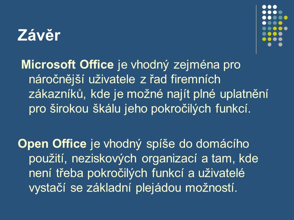Závěr Microsoft Office je vhodný zejména pro náročnější uživatele z řad firemních zákazníků, kde je možné najít plné uplatnění pro širokou škálu jeho pokročilých funkcí.