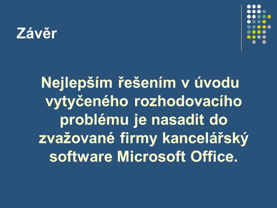 Závěr Nejlepším řešením v úvodu vytyčeného rozhodovacího problému je nasadit do zvažované firmy kancelářský software Microsoft Office.