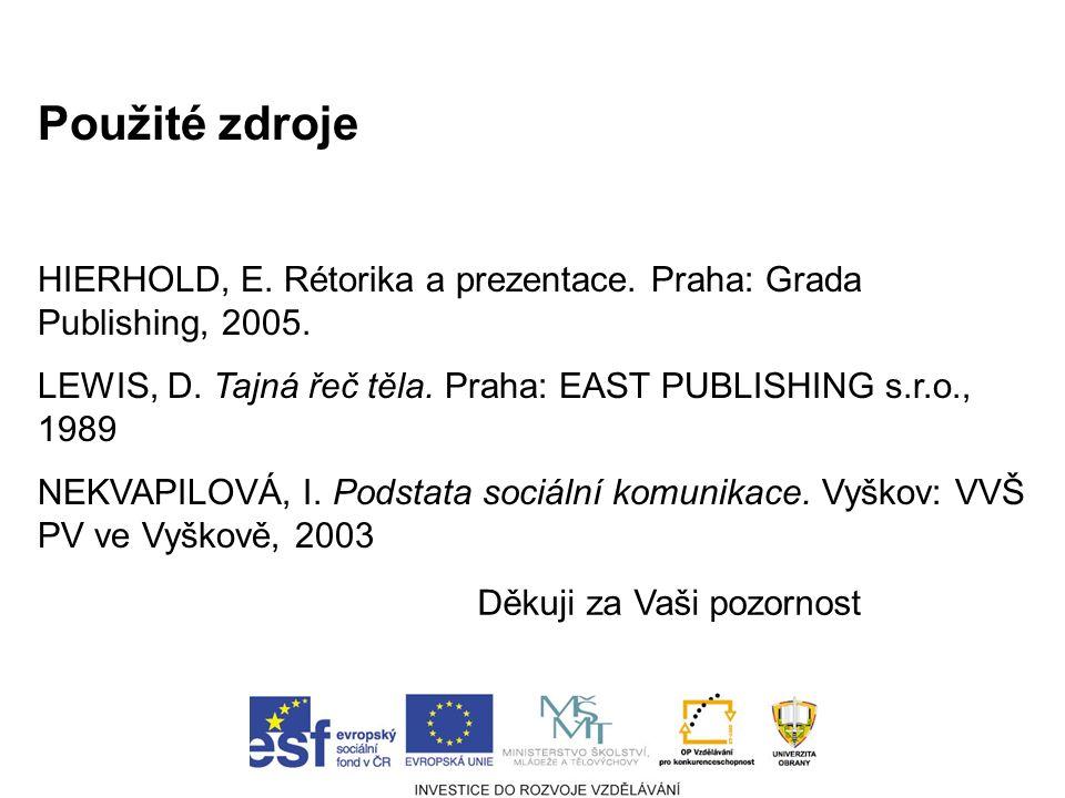 Použité zdroje HIERHOLD, E. Rétorika a prezentace.