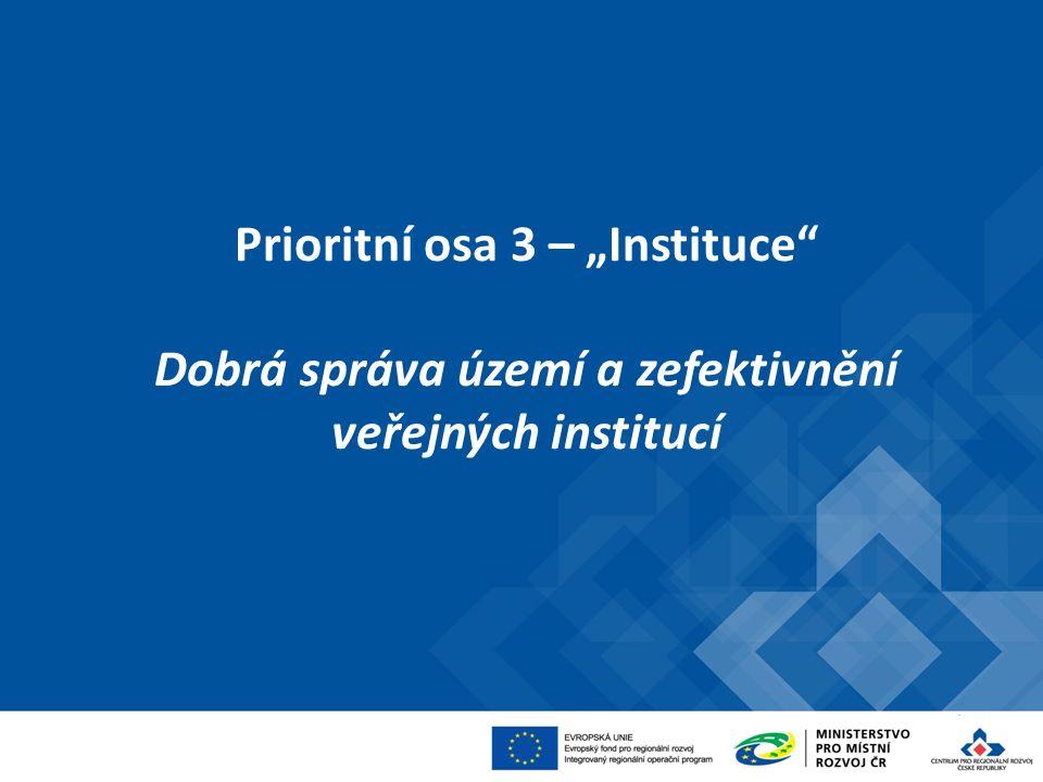 """Prioritní osa 3 – """"Instituce"""" Dobrá správa území a zefektivnění veřejných institucí"""