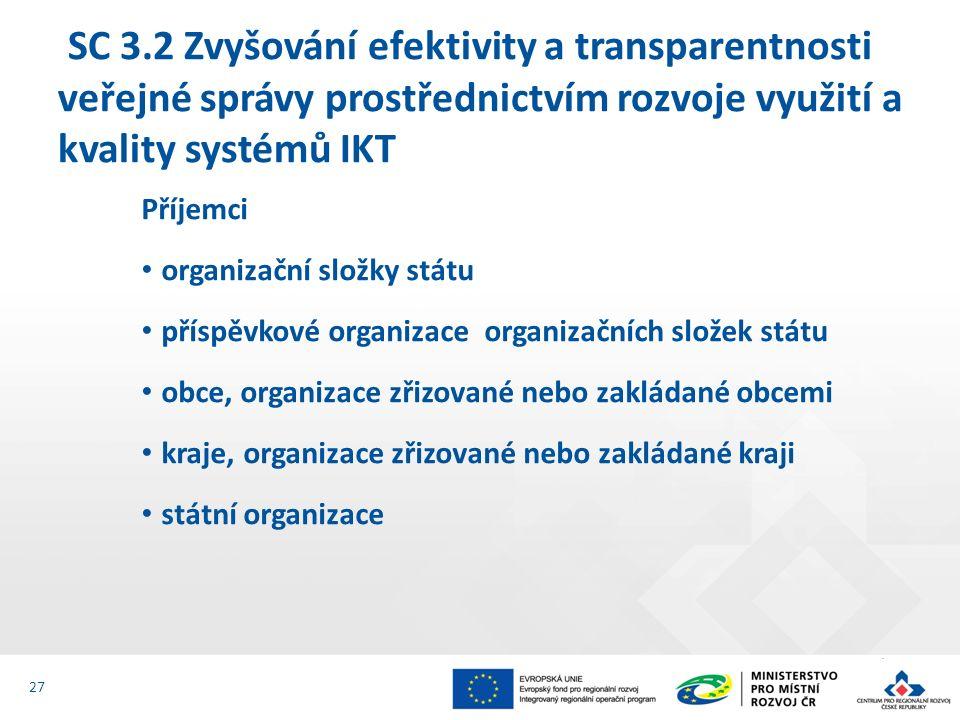 Příjemci organizační složky státu příspěvkové organizace organizačních složek státu obce, organizace zřizované nebo zakládané obcemi kraje, organizace zřizované nebo zakládané kraji státní organizace SC 3.2 Zvyšování efektivity a transparentnosti veřejné správy prostřednictvím rozvoje využití a kvality systémů IKT 27