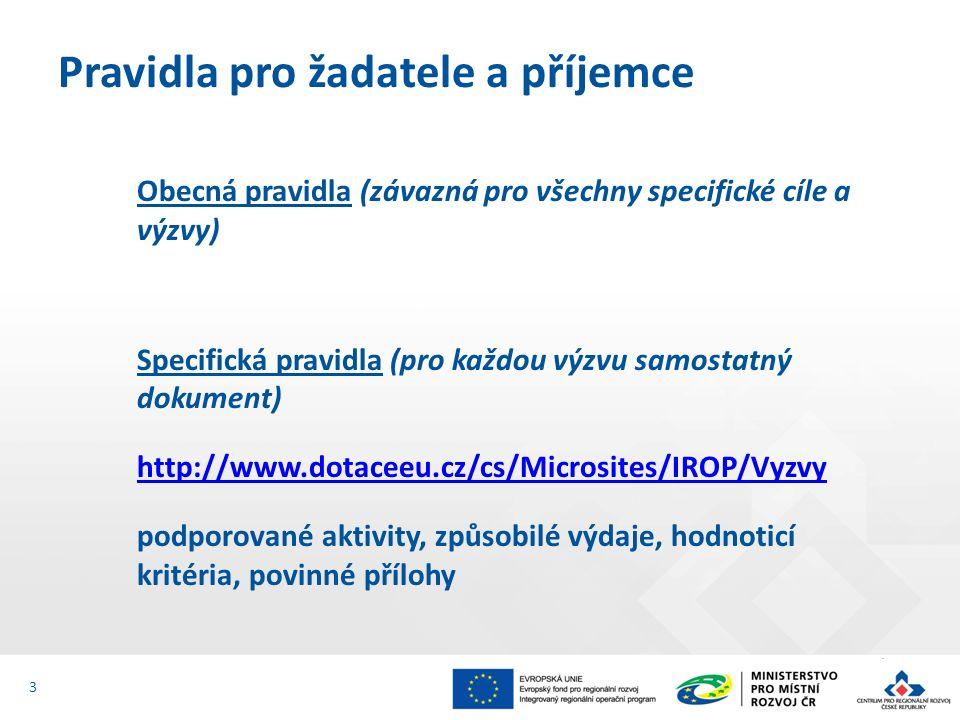 Obecná pravidla (závazná pro všechny specifické cíle a výzvy) Specifická pravidla (pro každou výzvu samostatný dokument) http://www.dotaceeu.cz/cs/Microsites/IROP/Vyzvy podporované aktivity, způsobilé výdaje, hodnoticí kritéria, povinné přílohy Pravidla pro žadatele a příjemce 3
