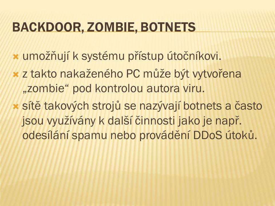 BACKDOOR, ZOMBIE, BOTNETS  umožňují k systému přístup útočníkovi.