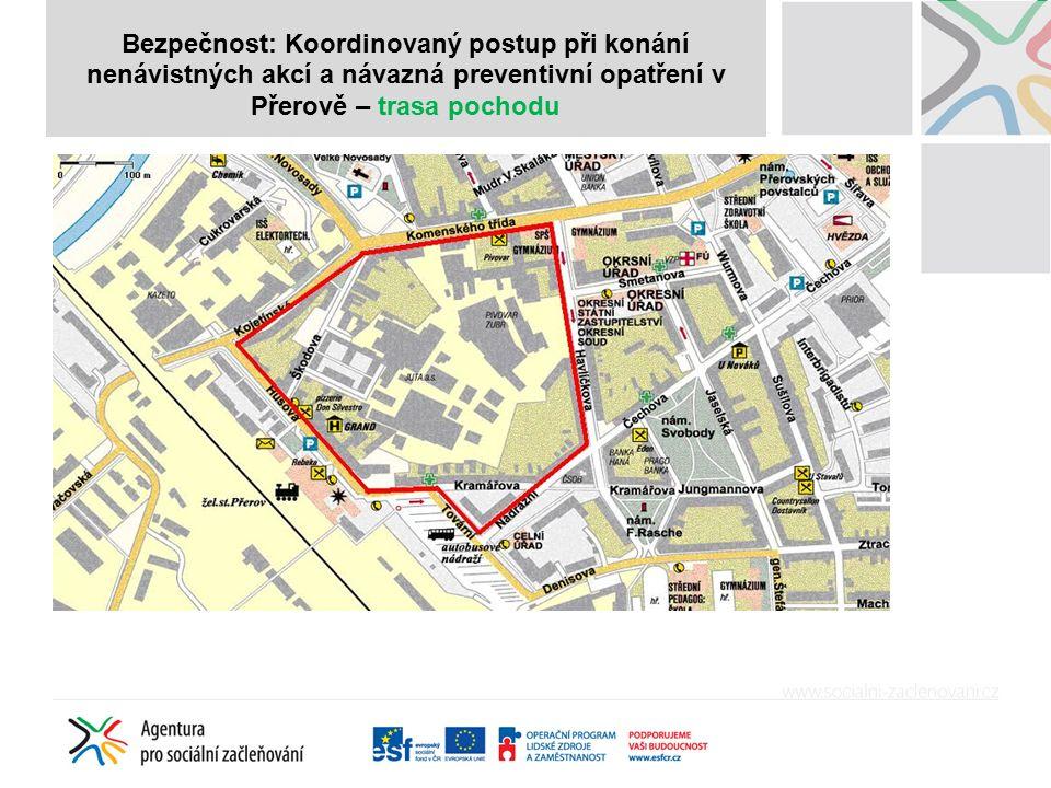 Bezpečnost: Koordinovaný postup při konání nenávistných akcí a návazná preventivní opatření v Přerově – trasa pochodu