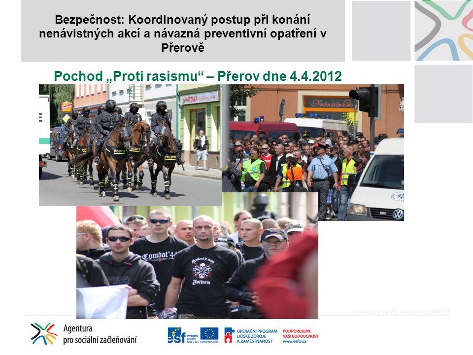 """Bezpečnost: Koordinovaný postup při konání nenávistných akcí a návazná preventivní opatření v Přerově Pochod """"Proti rasismu – Přerov dne 4.4.2012"""