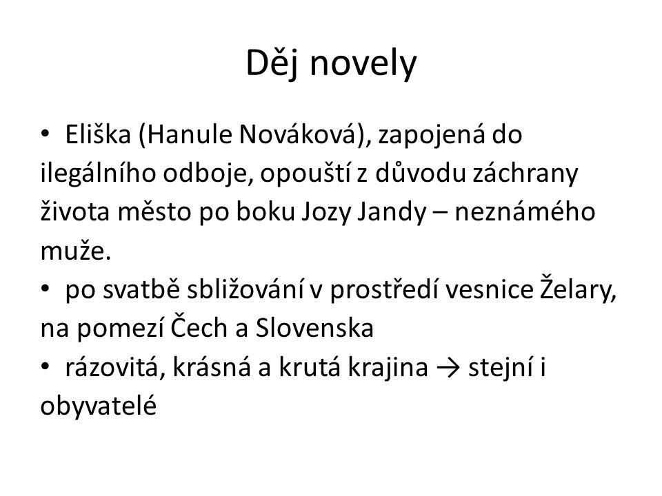 Děj novely Eliška (Hanule Nováková), zapojená do ilegálního odboje, opouští z důvodu záchrany života město po boku Jozy Jandy – neznámého muže. po sva