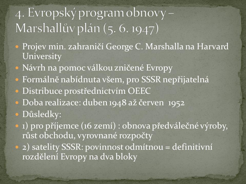Projev min. zahraničí George C. Marshalla na Harvard University Návrh na pomoc válkou zničené Evropy Formálně nabídnuta všem, pro SSSR nepřijatelná Di