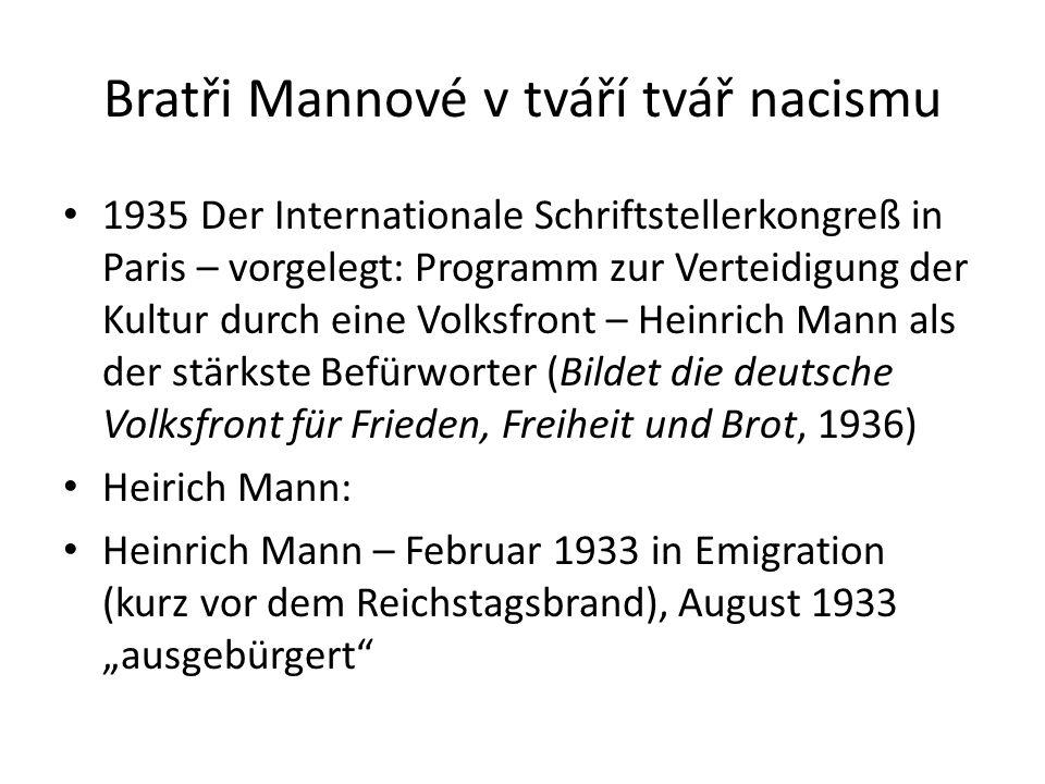 Bratři Mannové v tváří tvář nacismu 1935 Der Internationale Schriftstellerkongreß in Paris – vorgelegt: Programm zur Verteidigung der Kultur durch ein