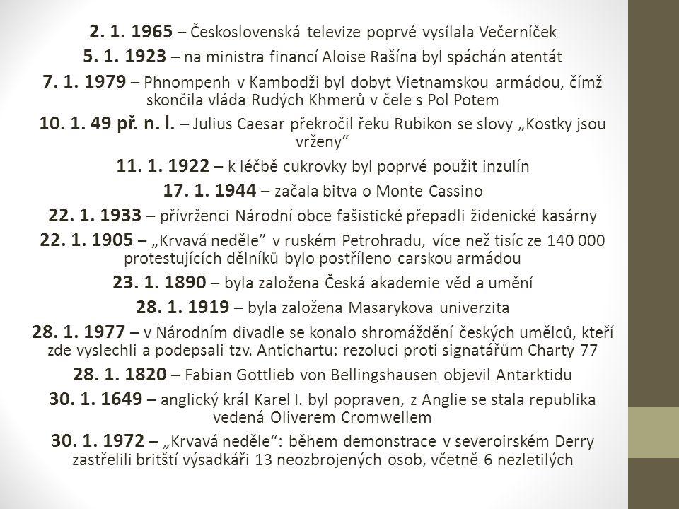 2. 1. 1965 – Československá televize poprvé vysílala Večerníček 5.