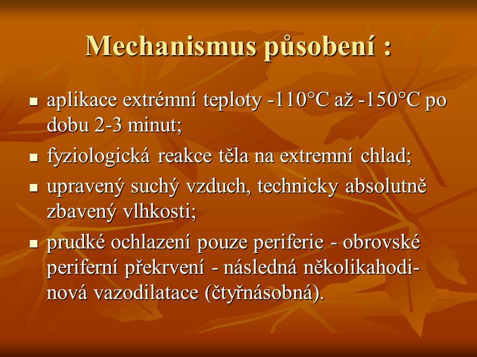 Mechanismus působení : aplikace extrémní teploty -110°C až -150°C po dobu 2-3 minut; aplikace extrémní teploty -110°C až -150°C po dobu 2-3 minut; fyziologická reakce těla na extremní chlad; fyziologická reakce těla na extremní chlad; upravený suchý vzduch, technicky absolutně zbavený vlhkosti; upravený suchý vzduch, technicky absolutně zbavený vlhkosti; prudké ochlazení pouze periferie - obrovské periferní překrvení - následná několikahodi- nová vazodilatace (čtyřnásobná).