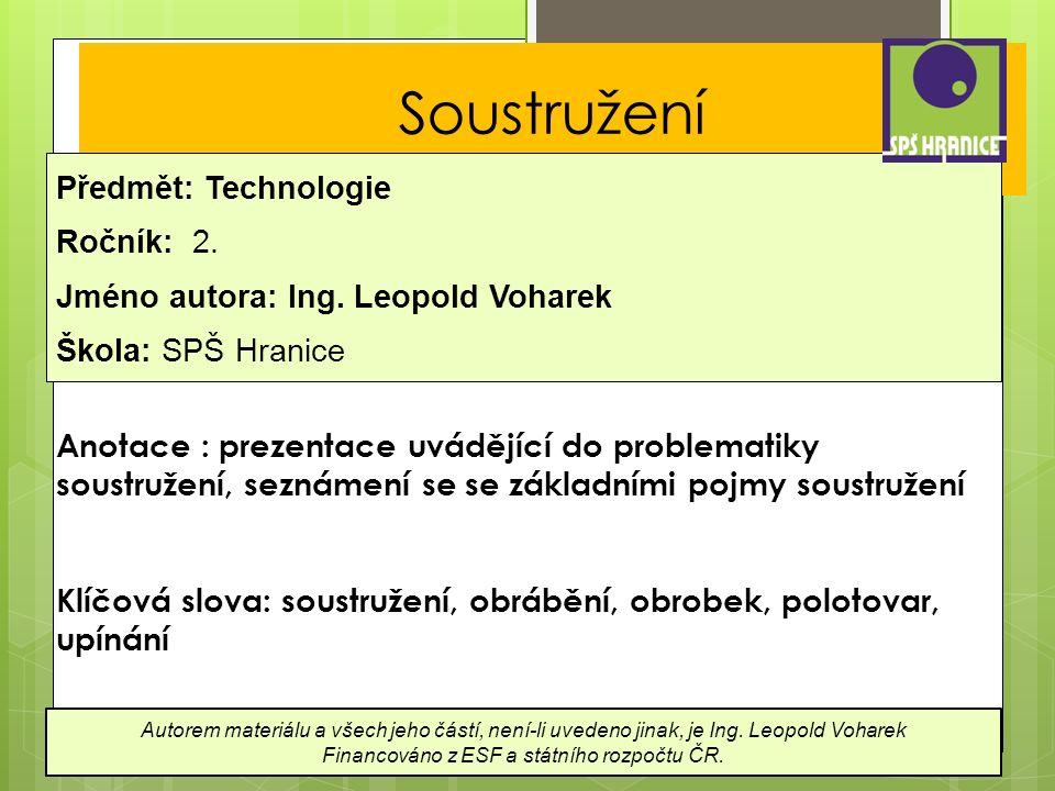 Soustružení Předmět: Technologie Ročník: 2.Jméno autora: Ing.