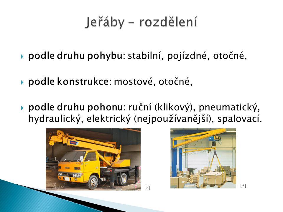  podle druhu pohybu: stabilní, pojízdné, otočné,  podle konstrukce: mostové, otočné,  podle druhu pohonu: ruční (klikový), pneumatický, hydraulický, elektrický (nejpoužívanější), spalovací.