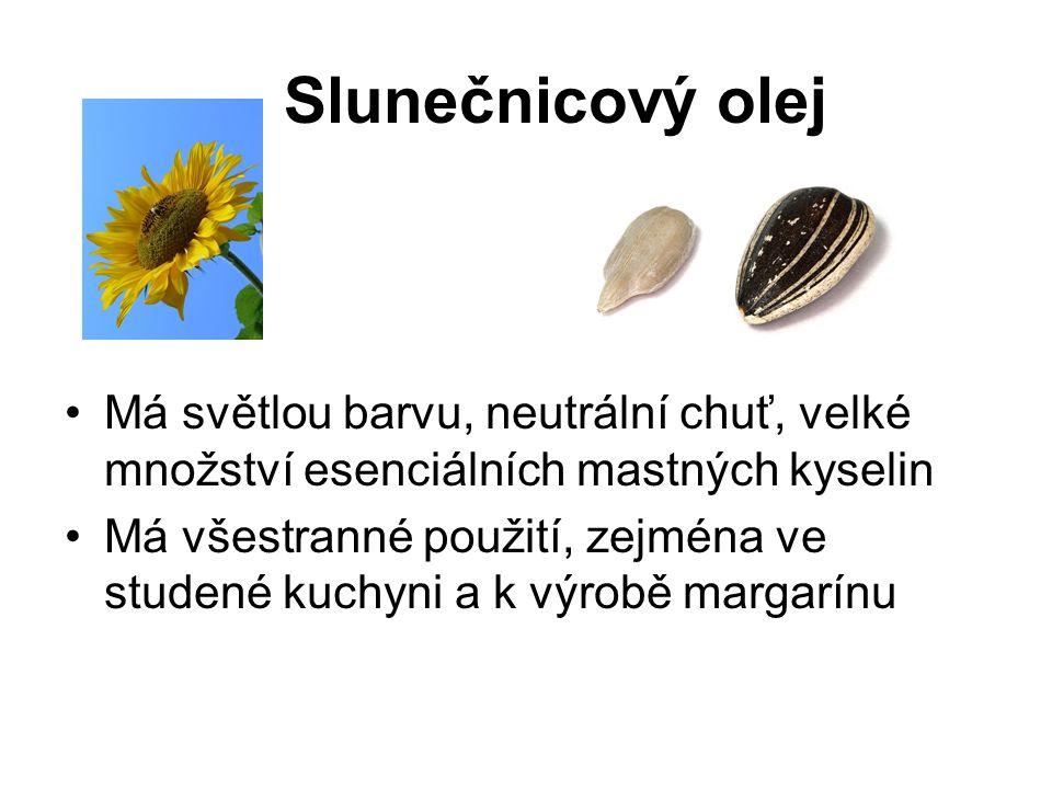 Má světlou barvu, neutrální chuť, velké množství esenciálních mastných kyselin Má všestranné použití, zejména ve studené kuchyni a k výrobě margarínu Slunečnicový olej