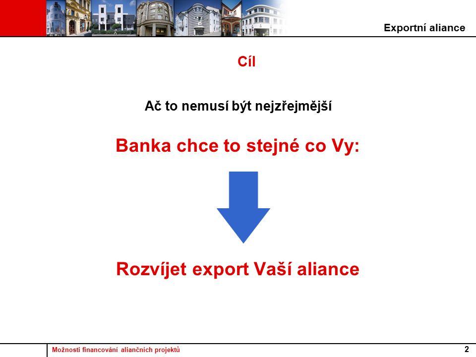 Možnosti financování aliančních projektů 2 Cíl Ač to nemusí být nejzřejmější Banka chce to stejné co Vy: Rozvíjet export Vaší aliance Exportní aliance