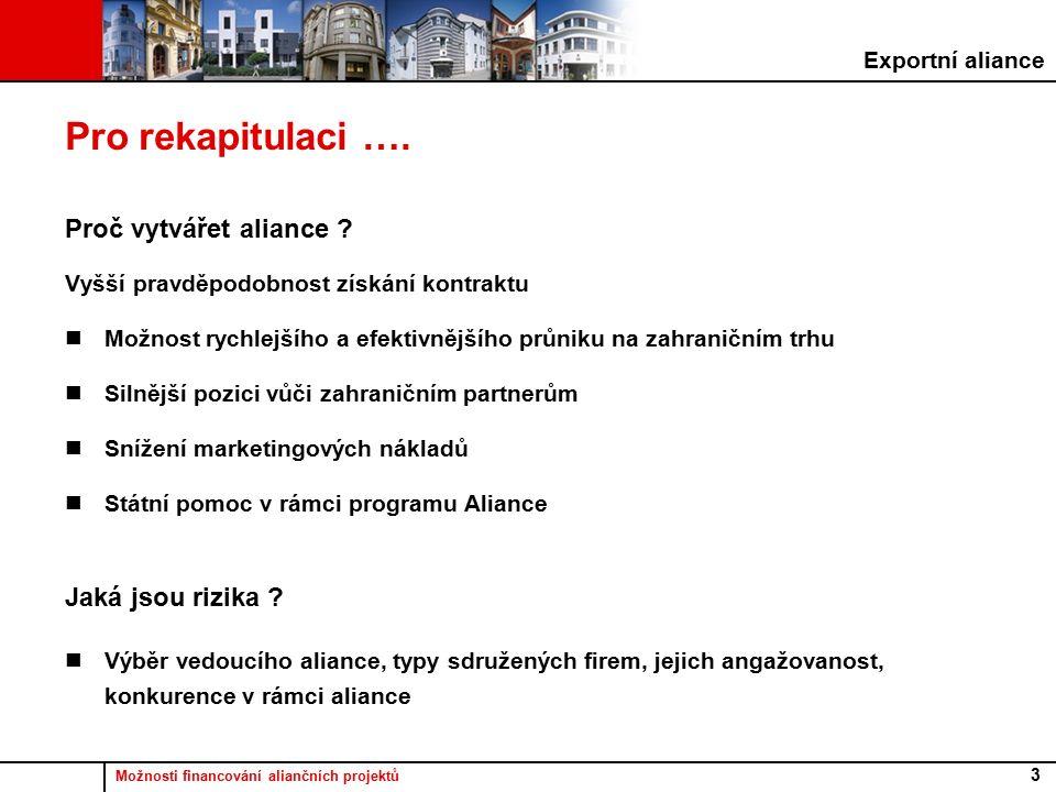 Možnosti financování aliančních projektů 3 Pro rekapitulaci ….