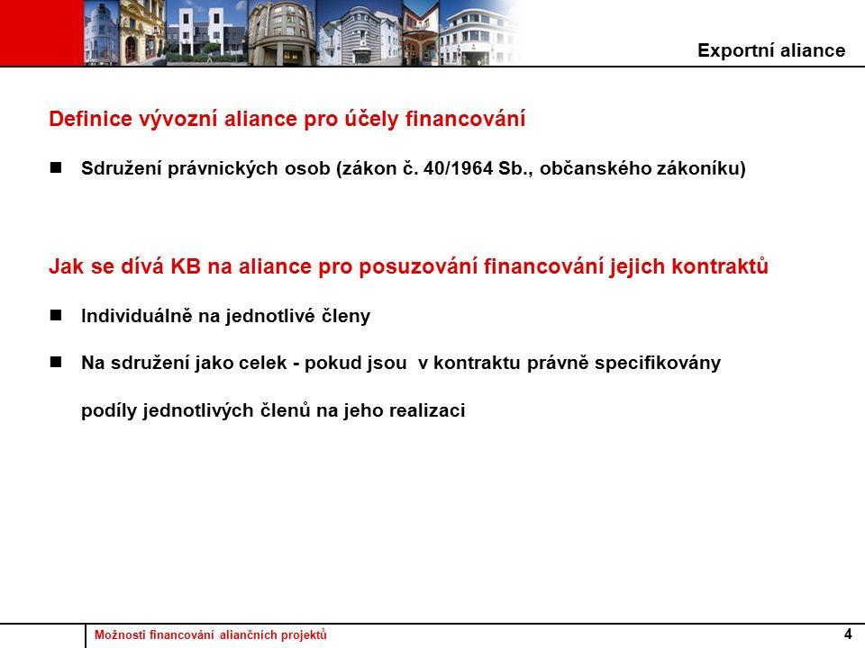 Možnosti financování aliančních projektů 4 Definice vývozní aliance pro účely financování Sdružení právnických osob (zákon č.