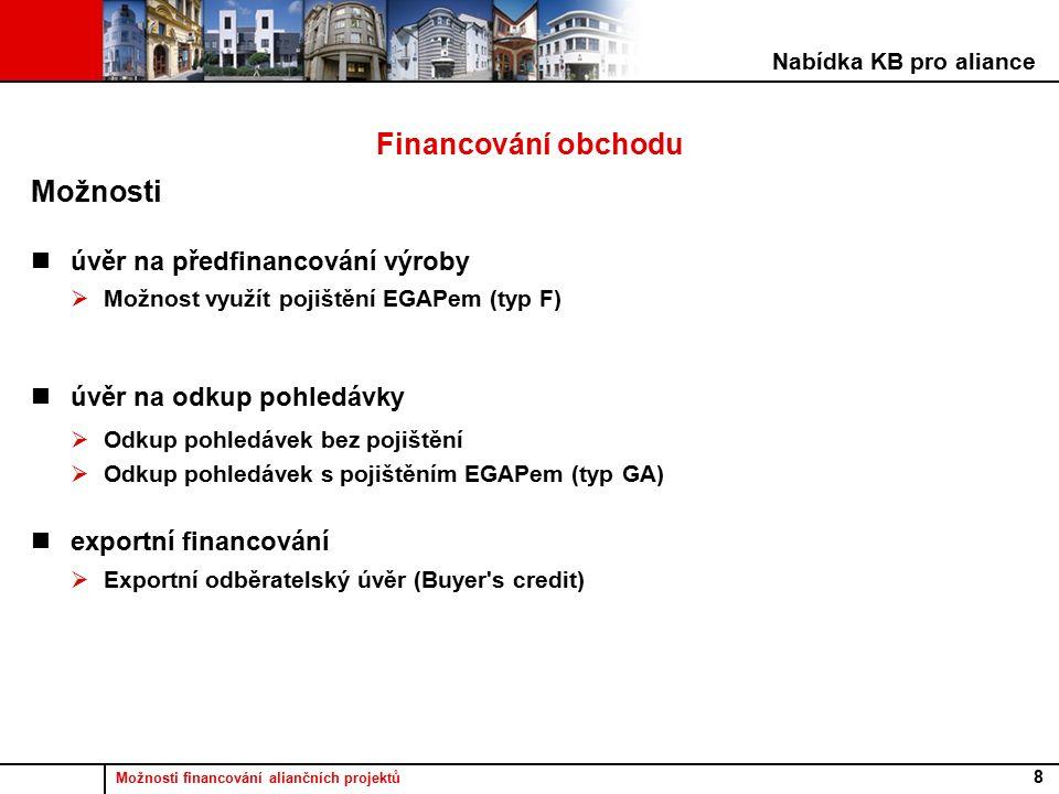 Možnosti financování aliančních projektů 8 Financování obchodu Možnosti úvěr na předfinancování výroby  Možnost využít pojištění EGAPem (typ F) úvěr na odkup pohledávky  Odkup pohledávek bez pojištění  Odkup pohledávek s pojištěním EGAPem (typ GA) exportní financování  Exportní odběratelský úvěr (Buyer s credit) Nabídka KB pro aliance