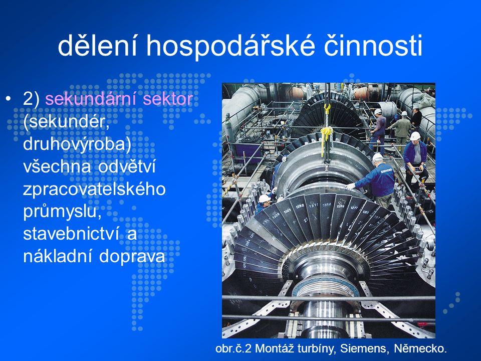 dělení hospodářské činnosti 2) sekundární sektor (sekundér, druhovýroba) všechna odvětví zpracovatelského průmyslu, stavebnictví a nákladní doprava obr.č.2 Montáž turbíny, Siemens, Německo.