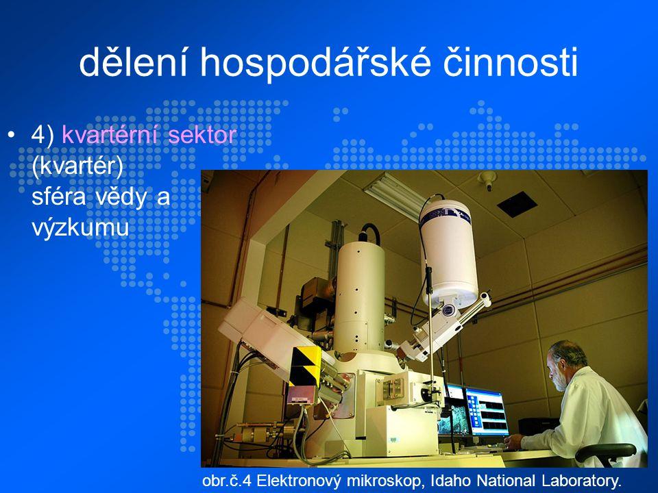 dělení hospodářské činnosti 4) kvartérní sektor (kvartér) sféra vědy a výzkumu obr.č.4 Elektronový mikroskop, Idaho National Laboratory.