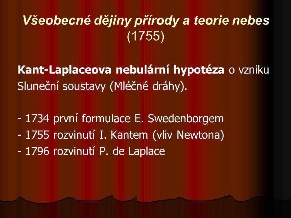 Všeobecné dějiny přírody a teorie nebes (1755) Kant-Laplaceova nebulární hypotéza o vzniku Sluneční soustavy (Mléčné dráhy).