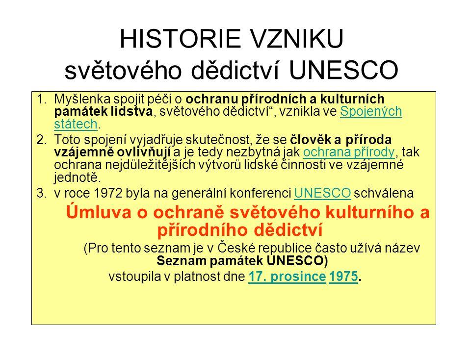 HISTORIE VZNIKU světového dědictví UNESCO 1.Myšlenka spojit péči o ochranu přírodních a kulturních památek lidstva, světového dědictví , vznikla ve Spojených státech.Spojených státech 2.Toto spojení vyjadřuje skutečnost, že se člověk a příroda vzájemně ovlivňují a je tedy nezbytná jak ochrana přírody, tak ochrana nejdůležitějších výtvorů lidské činnosti ve vzájemné jednotě.ochrana přírody 3.v roce 1972 byla na generální konferenci UNESCO schválena UNESCO Úmluva o ochraně světového kulturního a přírodního dědictví (Pro tento seznam je v České republice často užívá název Seznam památek UNESCO) vstoupila v platnost dne 17.