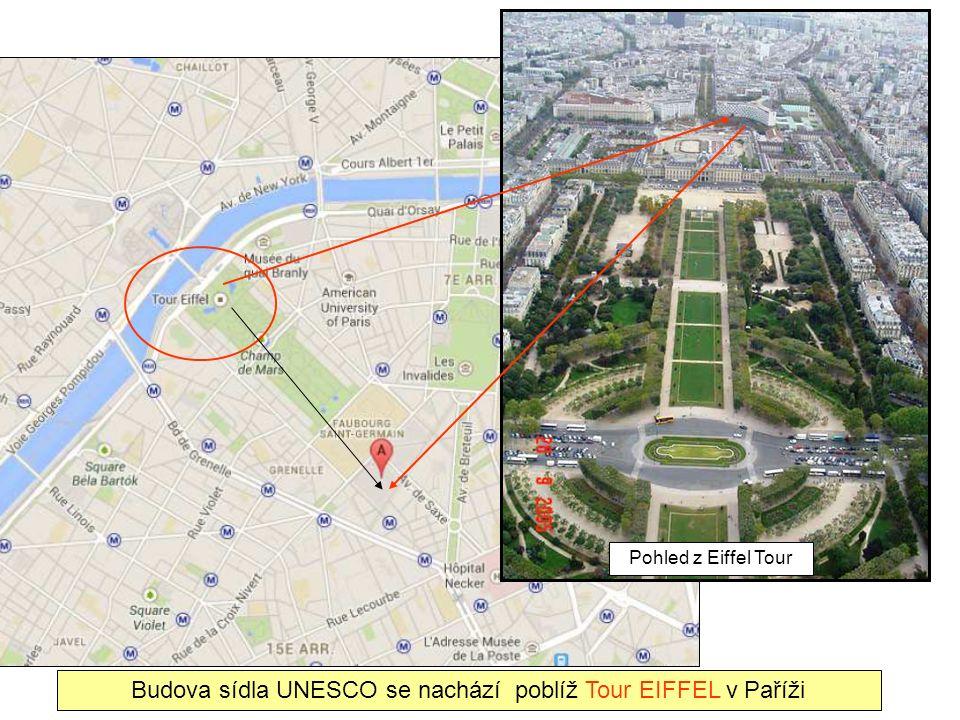 Budova sídla UNESCO se nachází poblíž Tour EIFFEL v Paříži Pohled z Eiffel Tour