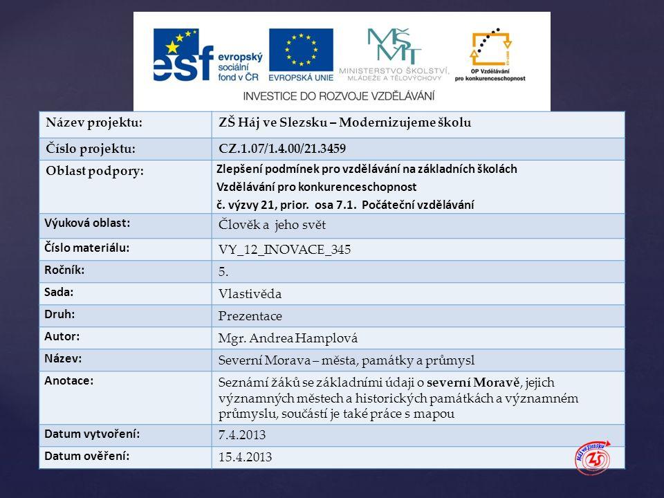 { Název projektu:ZŠ Háj ve Slezsku – Modernizujeme školu Číslo projektu:CZ.1.07/1.4.00/21.3459 Oblast podpory: Zlepšení podmínek pro vzdělávání na zák