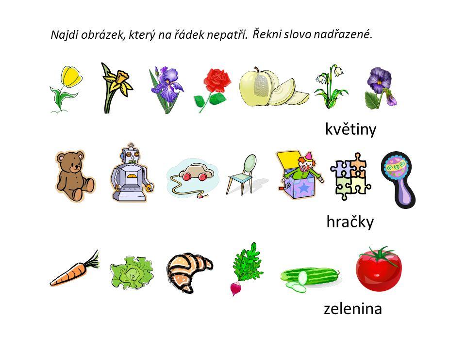 Najdi obrázek, který na řádek nepatří. Řekni slovo nadřazené. květiny hračky zelenina