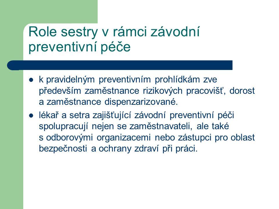 Role sestry v rámci závodní preventivní péče k pravidelným preventivním prohlídkám zve především zaměstnance rizikových pracovišť, dorost a zaměstnance dispenzarizované.