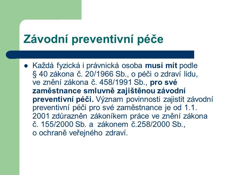 Závodní preventivní péče Každá fyzická i právnická osoba musí mít podle § 40 zákona č.