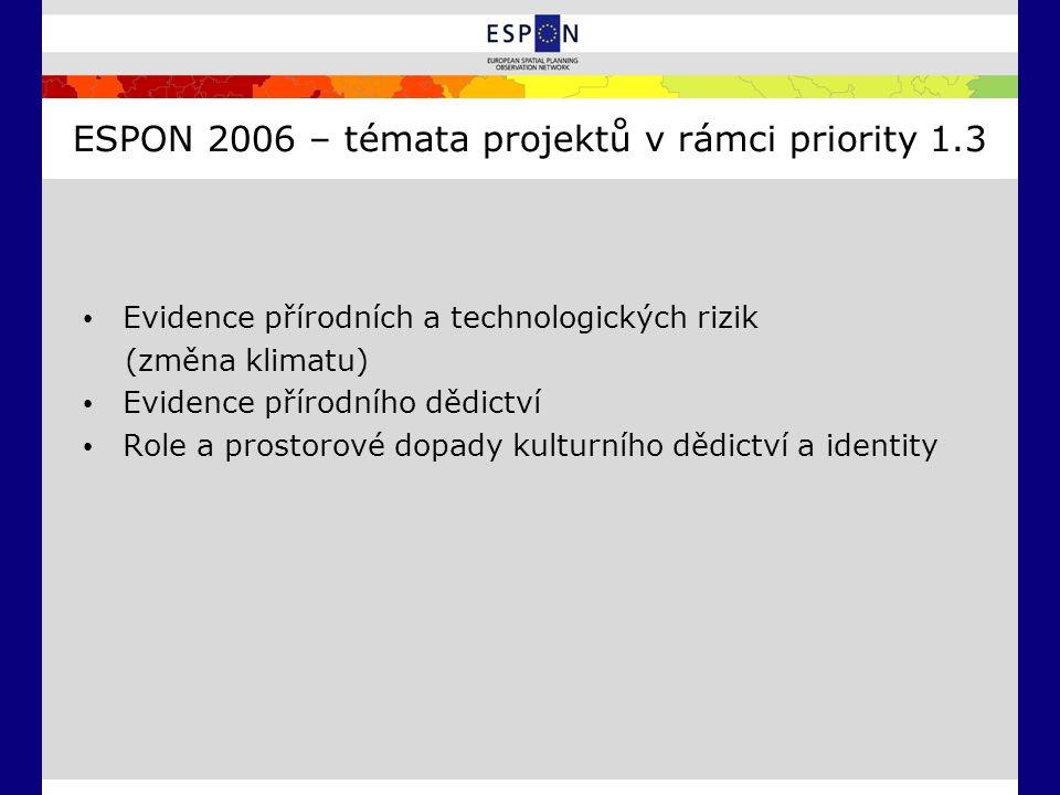 ESPON 2006 – témata projektů v rámci priority 1.3 Evidence přírodních a technologických rizik (změna klimatu) Evidence přírodního dědictví Role a pros