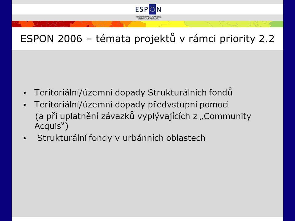 ESPON 2006 – témata projektů v rámci priority 2.2 Teritoriální/územní dopady Strukturálních fondů Teritoriální/územní dopady předvstupní pomoci (a při