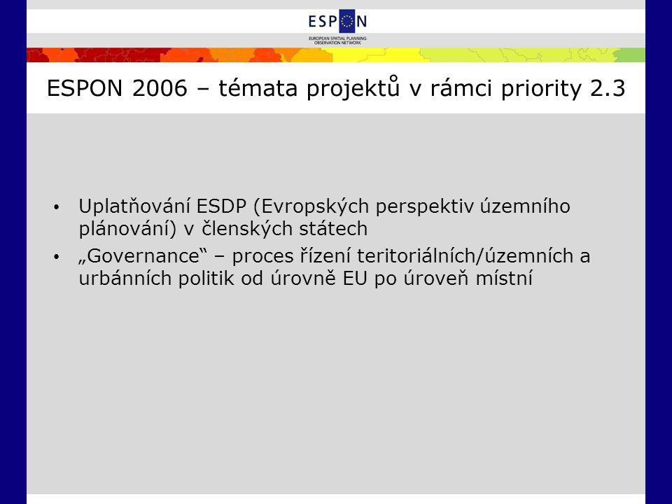 """ESPON 2006 – témata projektů v rámci priority 2.3 Uplatňování ESDP (Evropských perspektiv územního plánování) v členských státech """"Governance – proces řízení teritoriálních/územních a urbánních politik od úrovně EU po úroveň místní"""