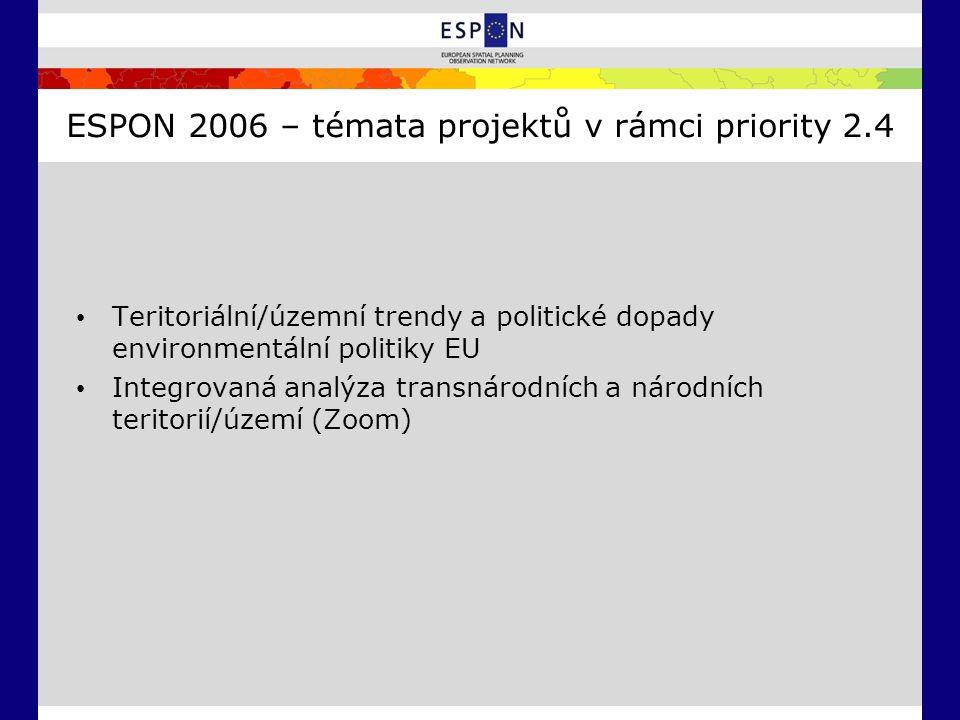 ESPON 2006 – témata projektů v rámci priority 2.4 Teritoriální/územní trendy a politické dopady environmentální politiky EU Integrovaná analýza transn