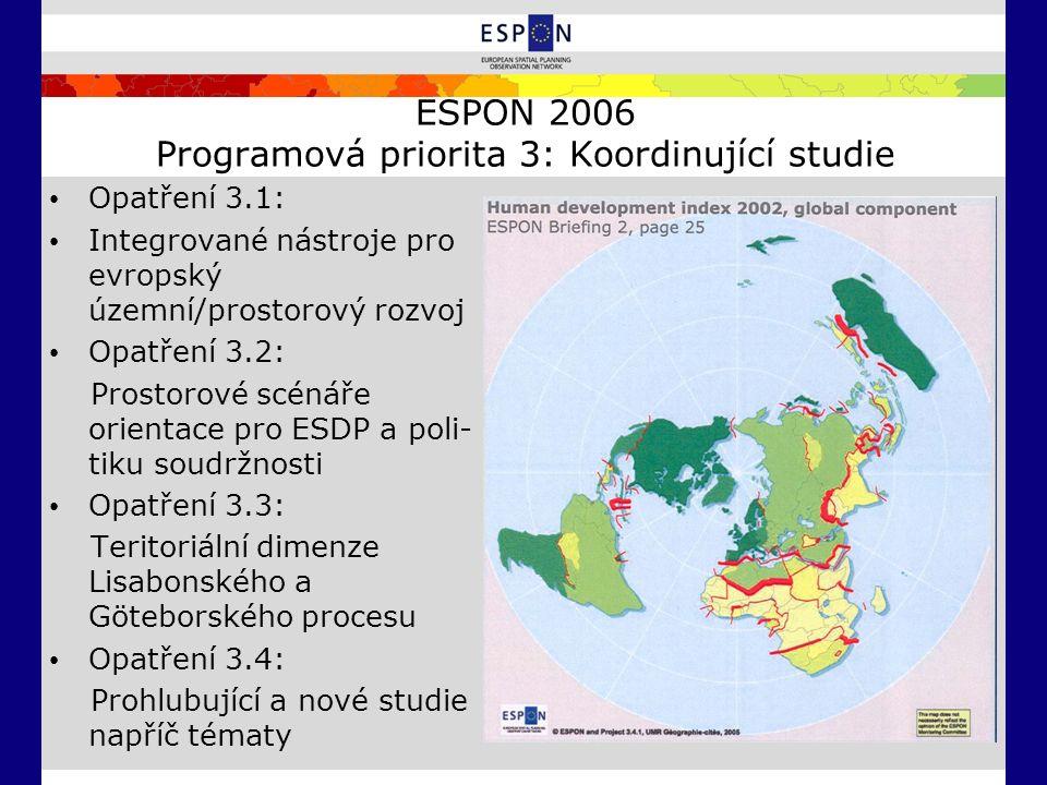 ESPON 2006 Programová priorita 3: Koordinující studie Opatření 3.1: Integrované nástroje pro evropský územní/prostorový rozvoj Opatření 3.2: Prostorové scénáře orientace pro ESDP a poli- tiku soudržnosti Opatření 3.3: Teritoriální dimenze Lisabonského a Göteborského procesu Opatření 3.4: Prohlubující a nové studie napříč tématy