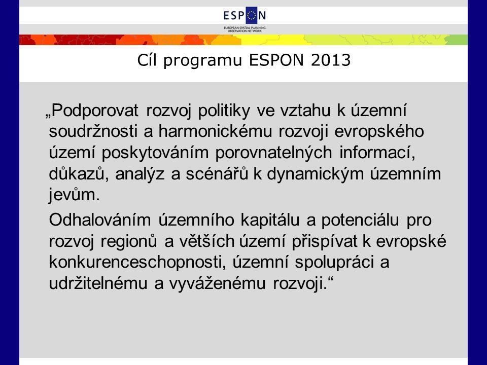 """Cíl programu ESPON 2013 """"Podporovat rozvoj politiky ve vztahu k územní soudržnosti a harmonickému rozvoji evropského území poskytováním porovnatelných"""