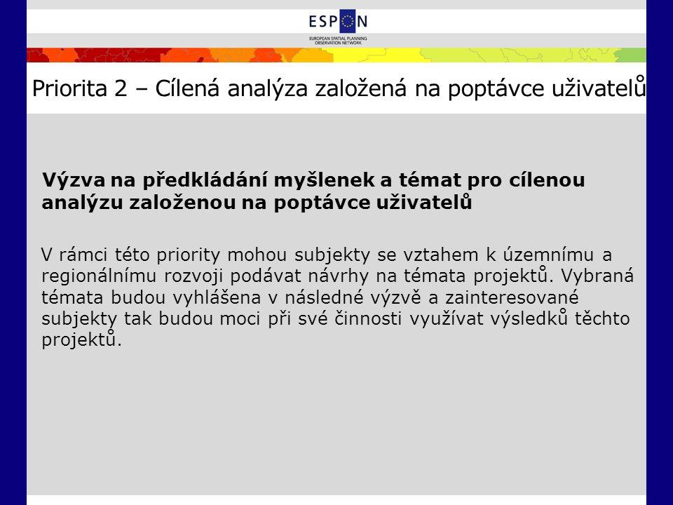 Priorita 2 – Cílená analýza založená na poptávce uživatelů Výzva na předkládání myšlenek a témat pro cílenou analýzu založenou na poptávce uživatelů V