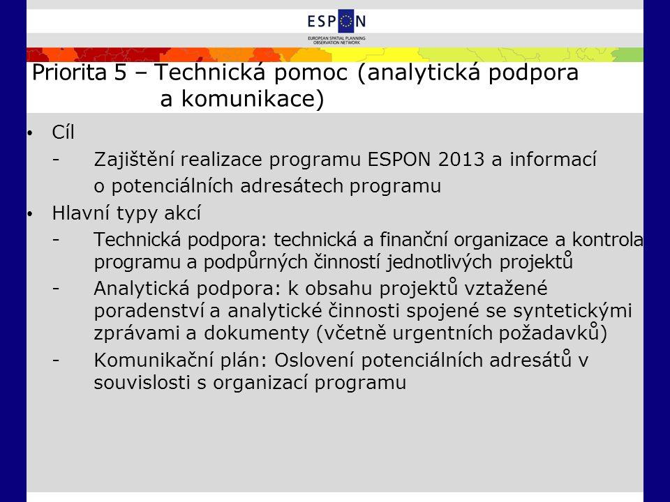Priorita 5 – Technická pomoc (analytická podpora a komunikace) Cíl - Zajištění realizace programu ESPON 2013 a informací o potenciálních adresátech pr
