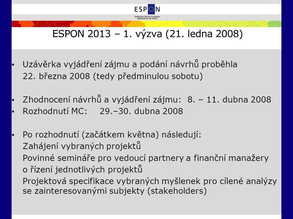 ESPON 2013 – 1. výzva (21. ledna 2008) Uzávěrka vyjádření zájmu a podání návrhů proběhla 22. března 2008 (tedy předminulou sobotu) Zhodnocení návrhů a