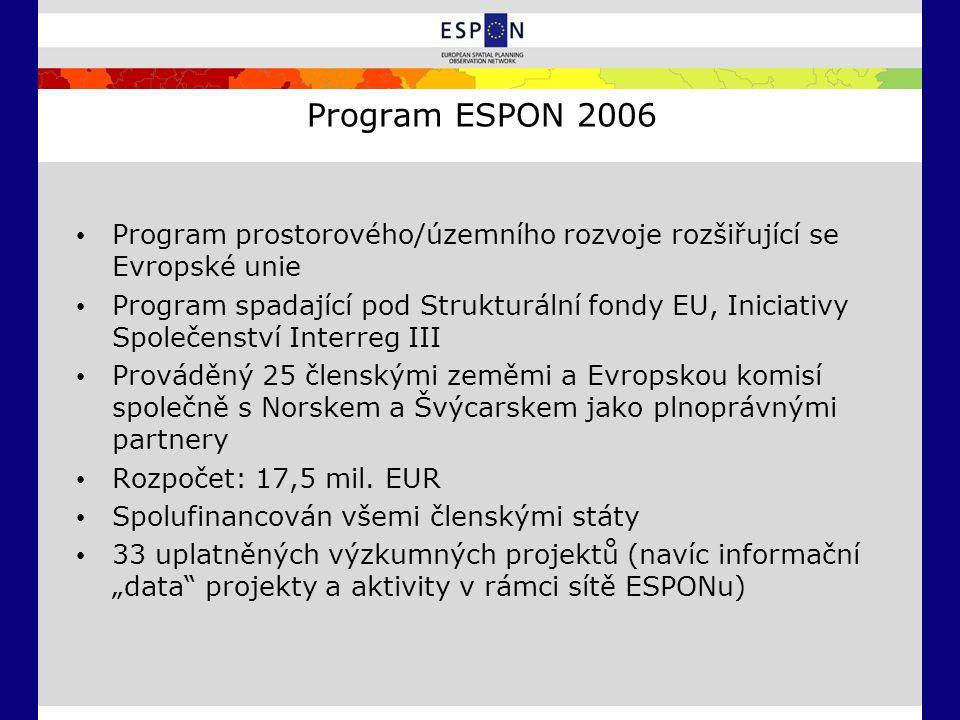 Program ESPON 2006 Program prostorového/územního rozvoje rozšiřující se Evropské unie Program spadající pod Strukturální fondy EU, Iniciativy Společen
