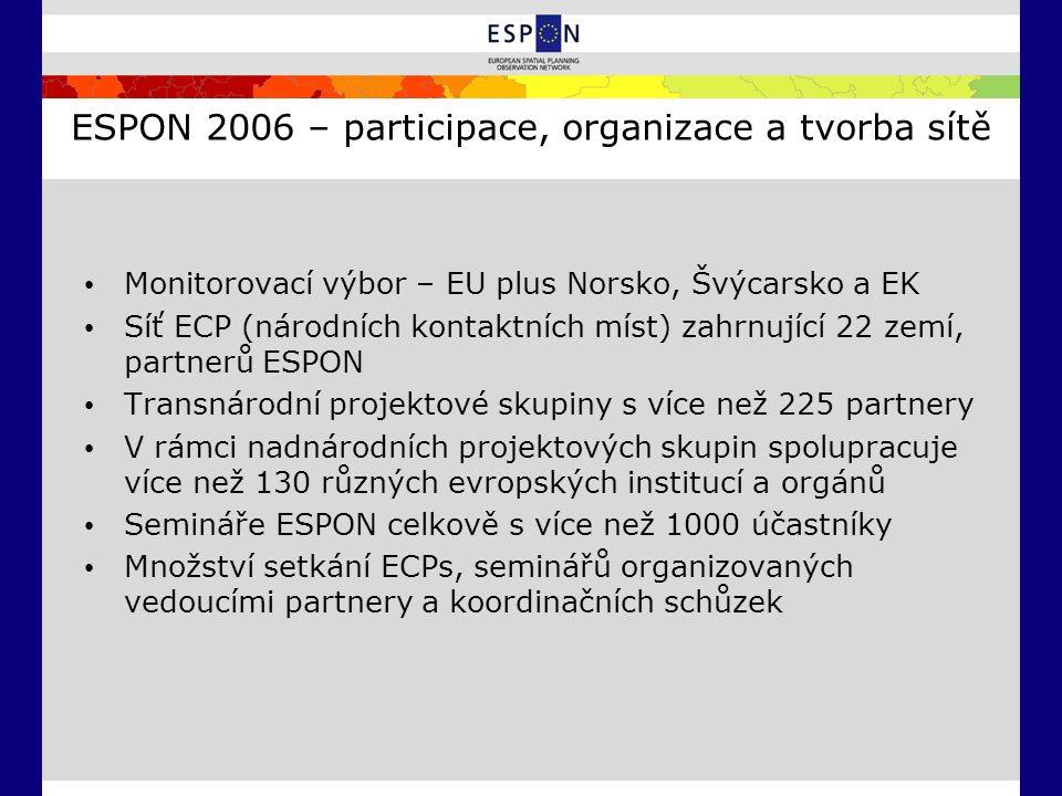 ESPON 2006 – participace, organizace a tvorba sítě Monitorovací výbor – EU plus Norsko, Švýcarsko a EK Síť ECP (národních kontaktních míst) zahrnující 22 zemí, partnerů ESPON Transnárodní projektové skupiny s více než 225 partnery V rámci nadnárodních projektových skupin spolupracuje více než 130 různých evropských institucí a orgánů Semináře ESPON celkově s více než 1000 účastníky Množství setkání ECPs, seminářů organizovaných vedoucími partnery a koordinačních schůzek